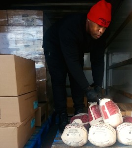 Cameen-Handing out turkeys Nov-20th